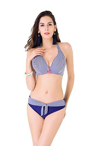 s Size Retro Halter Push-up Blue Stripe Bikini Bathing Suit Large (Fold Bottom)