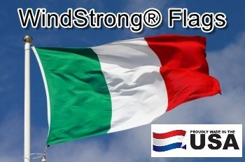 (2x3 FT Italy Italian WindStrong® Flag (Sewn Stripes) Deluxe Outdoor SolarMax Nylon Flag Made in the USA)
