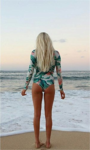 Tmrow Women's 1pc Printed Long Sleeve UV Protection Rash Guard Swimwear Beachwear,M by Tmrow (Image #1)