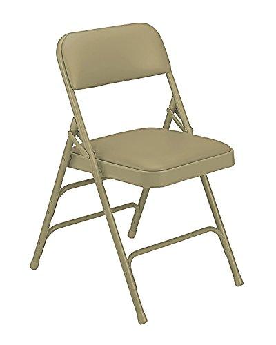 (National Public Seat Vinyl Upholstered Premium Folding Chair Triple Brace Double Hinge Beige - 4 Pack electronic consumers)