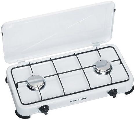 Cocina de Gas Doble Llama con 2x Quemadores Hornillas 5 mbar, iIdeal Para Cocina de Campamento al Aire Libre