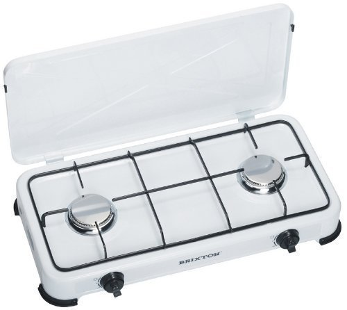 Gas Cooker Hob 2-Burner with Stainless Steel Half Burner 50 mbar, Perfect for Camping Outdoor Kitchen Gaskocher