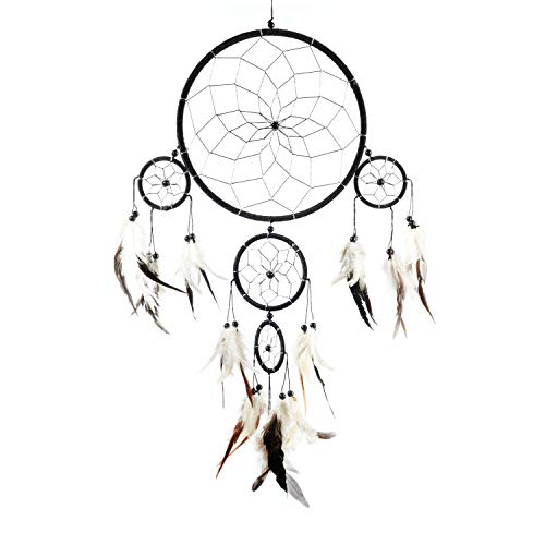 Dream Catcher ~ Handmade Traditional Black, White & Silver 8