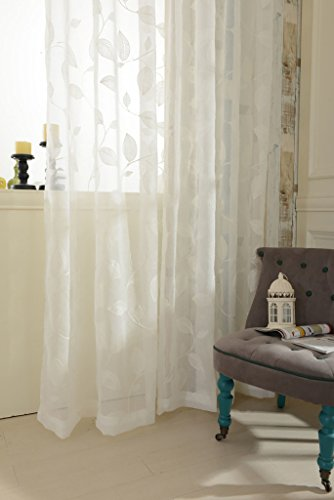 White Sheer Curtains 84 inches Long Leaves Embroidered Window Curtain Sheer Voile Panels for Living Room & Bedroom, 54x84, Two Panels
