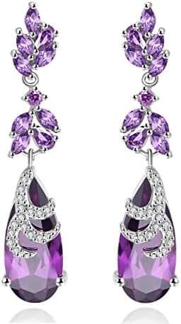 AAA Cubic Zirconia Water Drop Women Long Dangling Earrings Luxury Engagement Wedding Jewelry 7 Colors