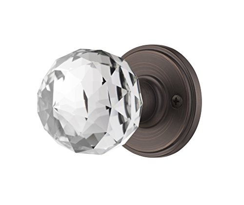 Decor Living, AMG and Enchante Accessories Faceted Crystal Door Knobs with Lock, Privacy Function for Bed and Bath, IRIS Collection, Venetian Bronze (Iris Bed Bedroom)