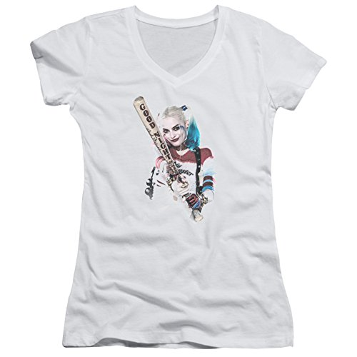 Price comparison product image Juniors: Suicide Squad- Harley Quinn At Bat V-Neck Juniors (Slim) T-Shirt Size L