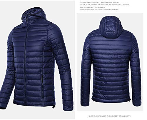 Hooded Sleeve Winter Coat Brinny Jacket Down Long Dark Windproof Puffer Blue Jacket Men's Ultralight Outdoor pSYpEwFq