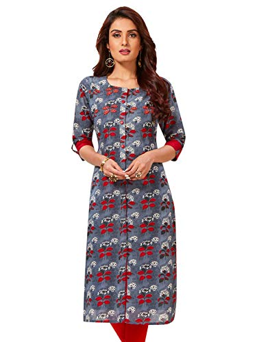 Jevi Prints Women's Cotton Unstitched Kurta Fabric (Fabric Only for Top) (Saheli-1815_Grey & Red_Free Size)