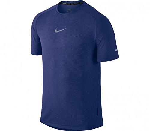 Nike Mens Aeroreact S/S Running Shirt 717972 (Large, Deep Royal Blue/Reflective Silver)