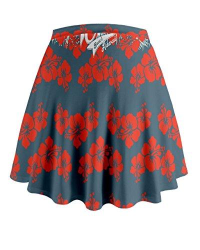 Cowcow Mujer exótica Hawaii Flores Mini Flare falda Red Hawaii 2