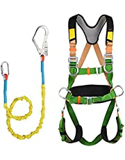 Fall Protection Full Body Safety Harness, Adjustable Belt With Hook And Lanyard, For Aerial Work