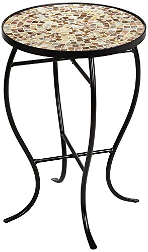 Mother of Pearl Mosaic Black Iron Outdoor Accent Table - Inlaid Accent