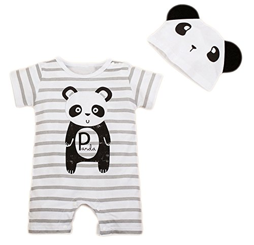 stylesilove Newborn Infant Toddler Cute Animal Baby Costume Jumpsuit and Hat (80/6-12 Months, Grey Panda) -