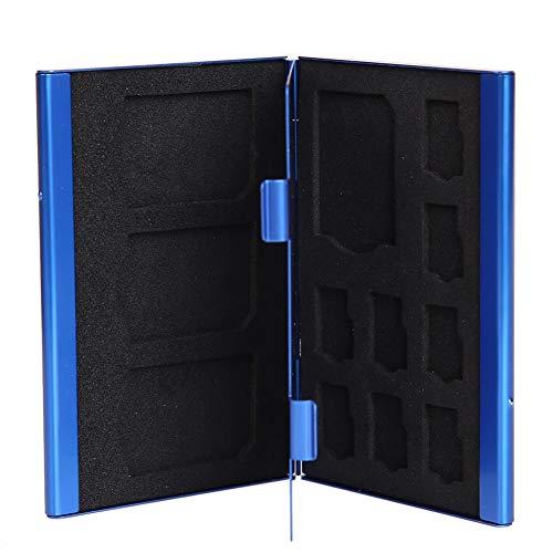 JIAIIO Memory Card Storage Case Box Portable Deck Aluminium Alloy 8TF + 4SD Memory Cards Case Storage Box Holder Blue Wholesale Price