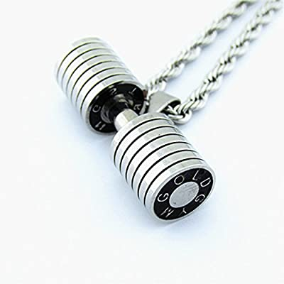 Generic The_ new _pump_iron_Pump_iron_deer_Chen_Hui_same_paragraph_dumbbell_dumbbells_ necklace Pendant necklace Pendant man boy _bodybuilding_right_spot