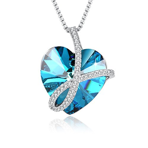 PLATO H Noble Heart Pendant Necklace Wit - March Blue Glass Shopping Results