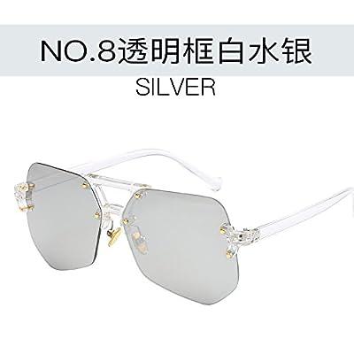 LXKMTYJ La tendance des lunettes de métal et des femmes hommes colorés Marine-Box Hiramitsu Lunettes miroir, case Transparent avec de l'argent