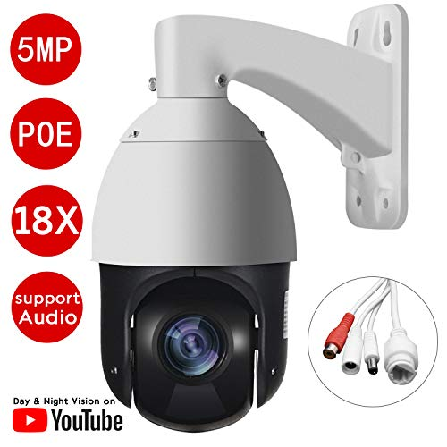 Nesuniq PTZ POE Camera 5MP IP Security Pan Tilt 18x Optical Zoom 2592x1944p Ultra HD Outdoor High-Speed CCTV Dome Camera, CMOS Image Sensor, 328ft IR Night Vision -802.3at- Auto Focus (Support Audio)