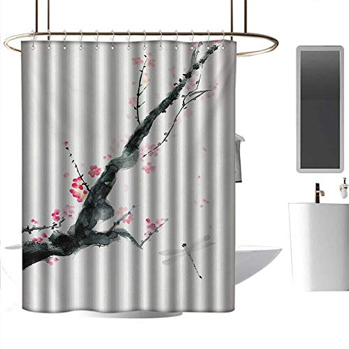 Children Bathroom Shower Curtain Dragonfly,Branch of a Pink Cherry Blossom Sakura Tree Bud and A Dragonfly Dramatic Artisan,Pink Black Bathroom Curtain with 12 Hooks W48 x L72 ()