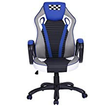 Homy Casa Ergonomic Computer Gaming Chair Faux Leather Office Racing Desk Chair (Blue#)