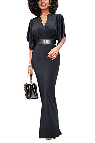 La Mujer Es Elegante Profundo Cuello En V Vestido De Noche Maxi Botones Fit Slim Sin Cinturon Black