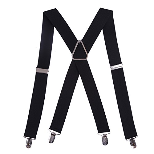 HDE Men's X-Back Clip Suspenders Adjustable Elastic Shoulder Strap - 1.5' Wide (Black)