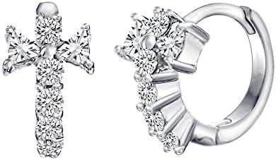 18K White Gold Over Sterling Silver Cubic Zirconia Cross Hinge Huggie Hoop Earring