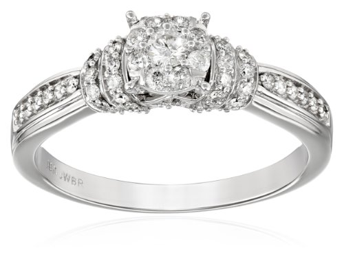 10K White Gold Round Diamond Engagement Ring  (1/2cttw), Size 7 by Amazon Collection