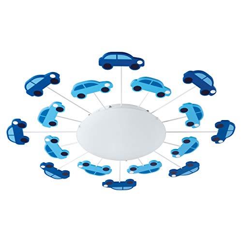 EGLO VIKI 1 iluminación de techo Azul E27 60 W - Lámpara (Azul, Habitación de los niños, Alrededor, Acero, IP20, I)