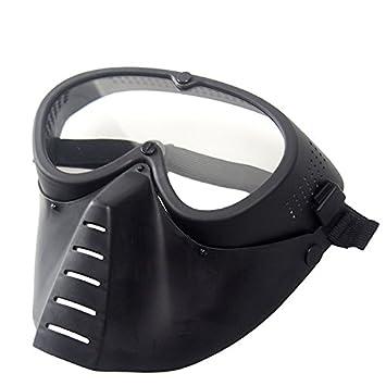 Wwman máscara táctica genérica, protección militar para airsoft o Paintball, máscara negra de cara completa con gafas., BK: Amazon.es: Deportes y aire libre
