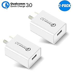 Australia 18W Quick Charge 3.0 USB Charger,Qualcomm Quick Charge 3.0 USB Wall Charger Portable Adapter(Quick Charge 2.0 Compatible) for iPhone, iPad, Samsung Galaxy/Note and More (2 Pcs White)