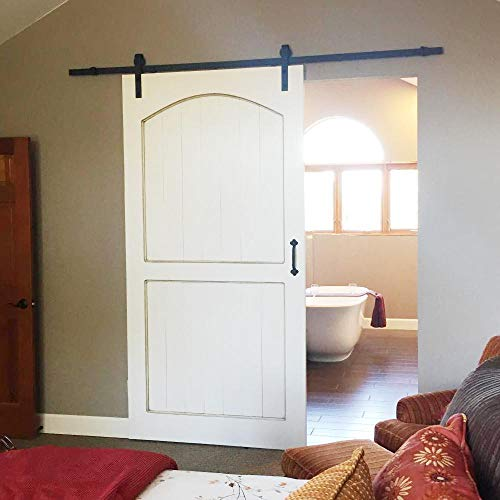 Yaheetech 8Ft Sliding Barn Door Hardware Kit Set Heavy Duty Sturdy Single Barn Door Track Antique Style Closet System Black by Yaheetech (Image #1)