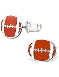 "925 Sterling Silver Children's ""Football"" Stud Earrings with Bullet Clutch Earring Backs"