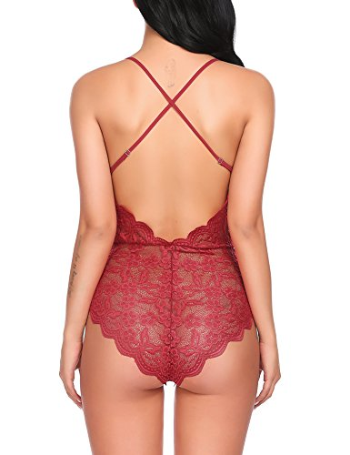 Avidlove Women Teddy Lingerie One Piece Babydoll Bodysuit Romper,Large,Red by Avidlove (Image #1)