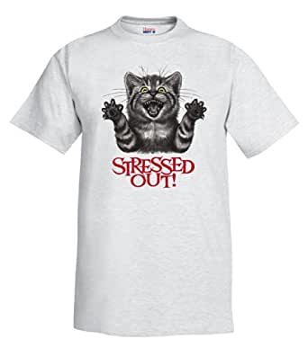 Stressed Out Cat T-Shirt ash Small