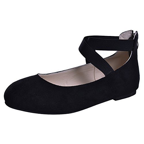Black Plaid Flat Shoe (Dear Time Women's Ballet Flats Ankle Elastic Crossing Strap Suede Ballerina Shoes Black US 6)
