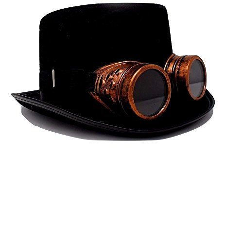 Steampunk Top Hat-Black Felt Top Hat, Costume Dress Up Party Hat for Halloween and Cosplay for Adults and Big Kids (Steampunk Hat with Goggle)