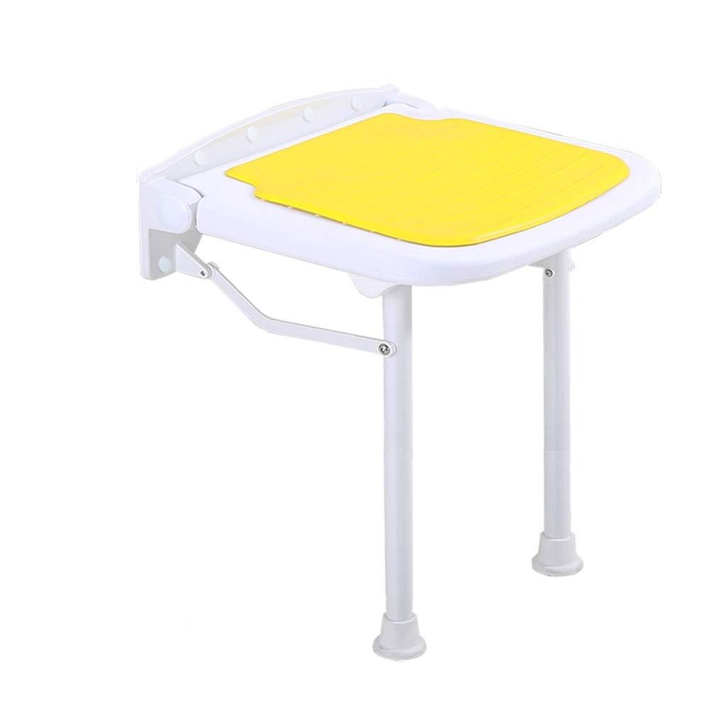 浴室折りたたみ椅子スツールウォールチェアシャワースツール交換靴ベンチ高齢者スリップバスチェア最大300キログラム (色 : イエロー いえろ゜) B07PSMCDKL イエロー いえろ゜