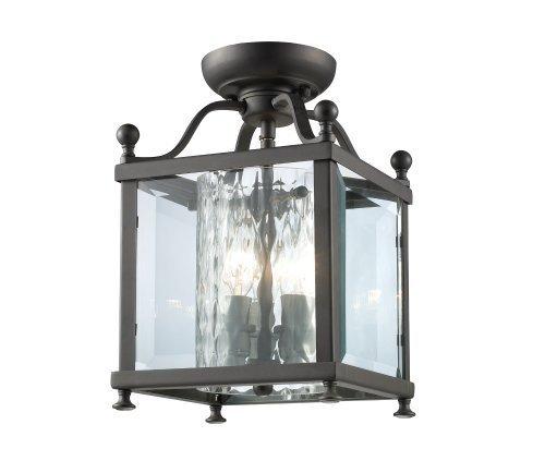 Z-Lite 177-3SF-S Fairview 3 Light Semi-Flush Mount, Metal Frame, Bronze Finish and Clear Beveled Outside Glass by Z-Lite Lighting