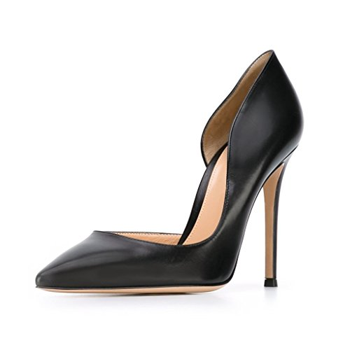 10cm punta tacco Edefs punta nere alto scarpe a donna con Décolleté da fYxqYF0