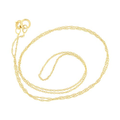 Beauniq 10k Yellow Gold 0.90 Millimeters Delicate Rope Chain Necklace, 15 Inches