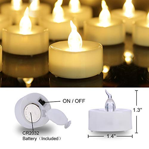 Homemory 100PCS Battery Operated Tealights Warm White LED Flameless Flickering Tea Lights Bulk by Homemory (Image #6)