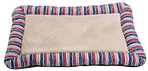 Merax Pet Beds Dog Cat Mat Bolster Velvet Bed (Red Stripes)