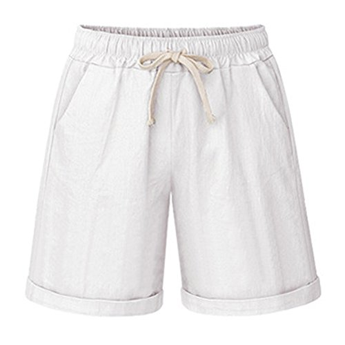 - Gooket Women's Elastic Waist Cotton Linen Casual Knee Length Bermuda Shorts White Tag M-US 2