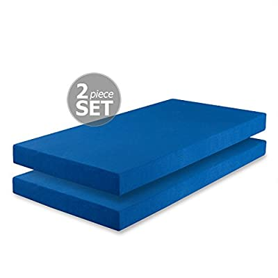 Zinus Memory Foam 5 Inch Twin Mattress 2 pack, Perfect for Bunk Beds/Trundle Beds/Day Beds, Blue (Set of 2)