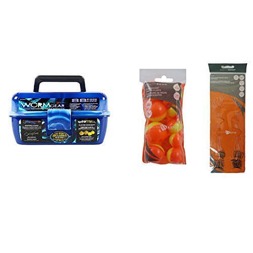 Blue WormGear Tackle Box with Tackle Included - 146 Piece Tackle Box Bundle - WormGear 88 Piece Tackle Box Plus 10 Assorted Size Fishing Floats and 48 Snelled Baitholder Hooks