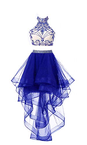 (HEIMO Women's 2 Pieces Beaded Keyhole Back Homecoming Dresses Halter Beading Prom Gowns Short H199 8 Royal Blue)