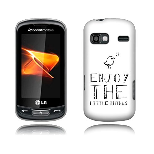Fincibo (TM) LG Rumor Reflex LN272 Xpression C395 Protector Cover Case Snap On Hard Plastic - Enjoy The Little Things, Front And Back