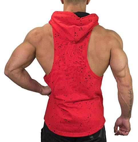 - Men's DRI-FIT Microfiber Bodybuilding Stringer Tank Top (XXXL, Style-F-Red)